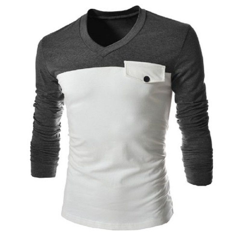 V-Neck Two Color Slimming Long Sleeve Men's T-Shirt | Colors ...