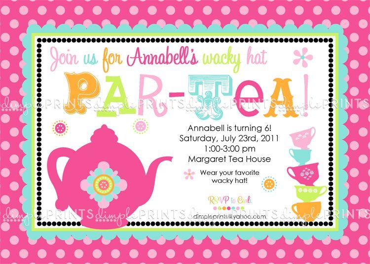 Tea Party Printable Birthday or Shower Invite Tea parties, Teas - tea party invitation