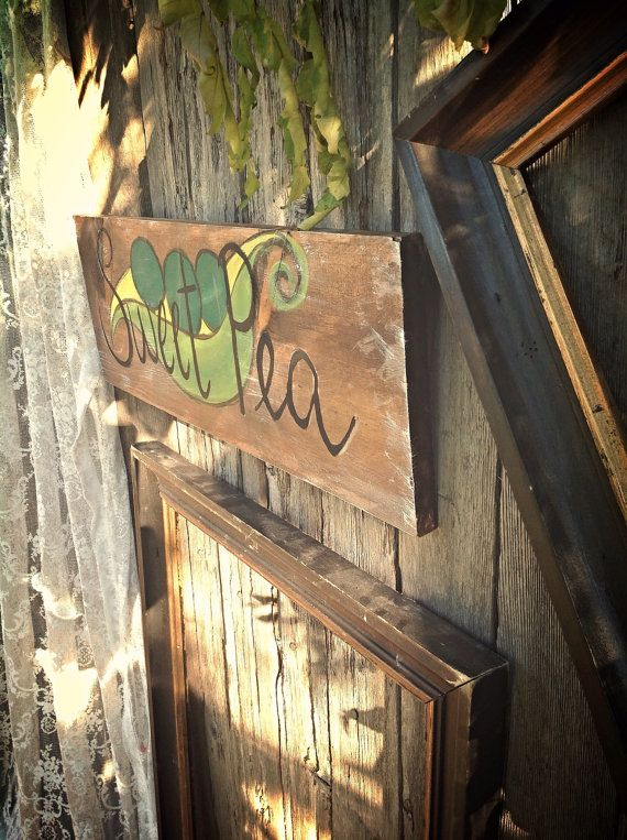 Sweet Pea Hand Painted Wooden Distressed Sign By Mandybrajdesigns Nursery Decor Baby Shower Vintage Wood Signs