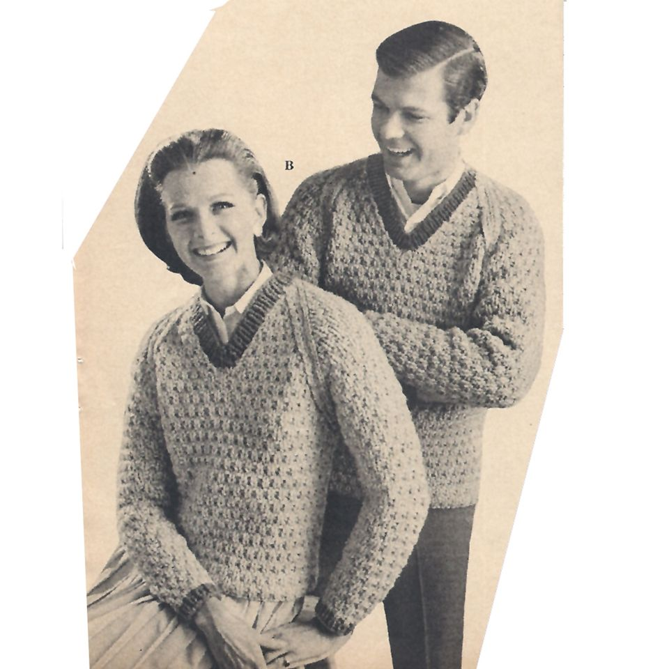 Mens Womens Knit V-Neck Pullover Sweater PDF Pattern The pullover features  a ribbed contrast band at the neckline and long sleeved cuffs. It is hip  length. 6b457aa2b