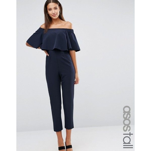 ASOS TALL Jumpsuit with Ruffle Bardot (3.895 RUB) ❤ liked on Polyvore featuring jumpsuits, navy, tall jumpsuit, navy blue jumpsuit, zipper jumpsuit, off shoulder ruffle jumpsuit and ruffle jumpsuit