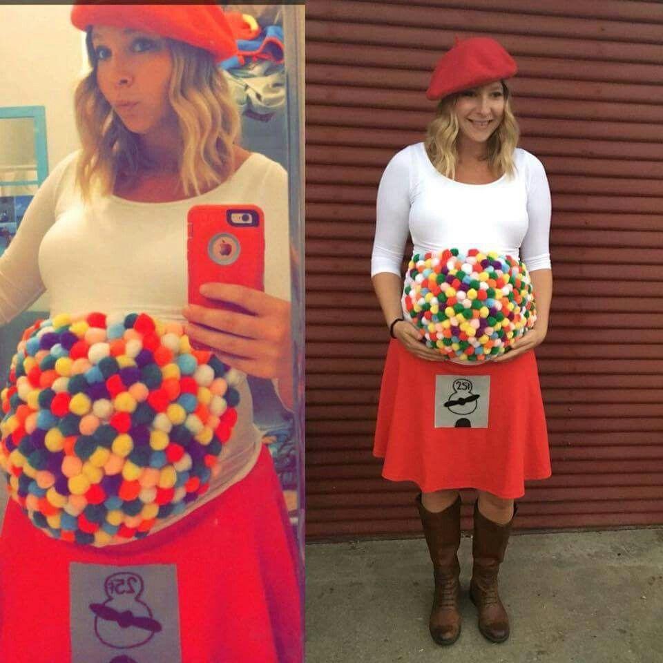 Gumball machine costume for pregnant women