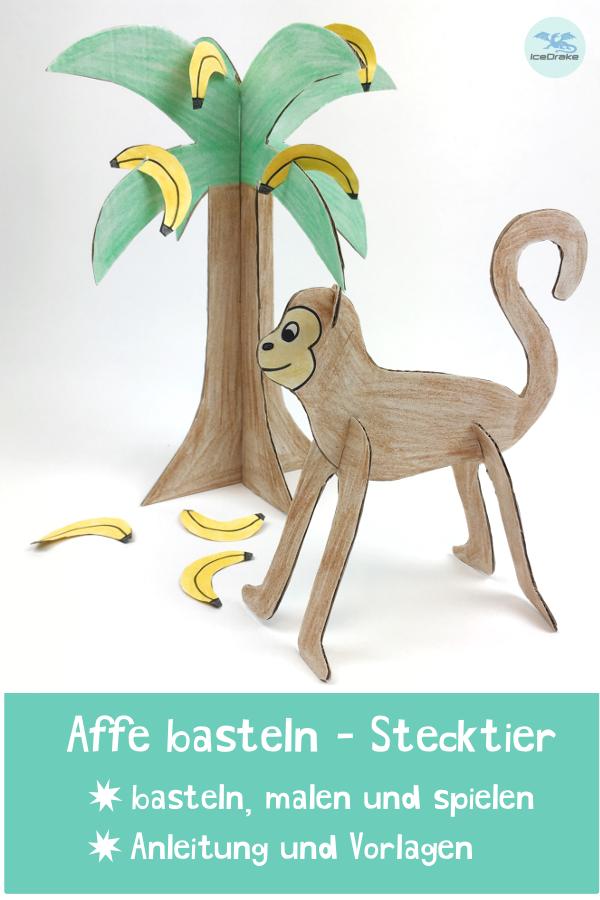 Affe Basteln Als Stecktier Basteln Mit Kindern Bastelideen Kinder