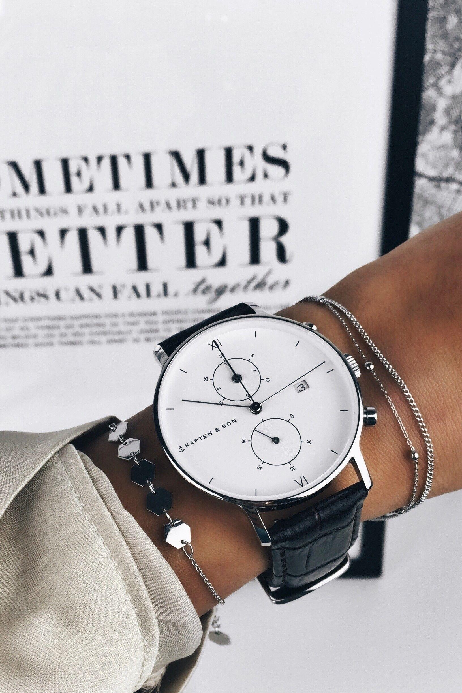 Chrono Silver Dark Brown Croco Leather #luxurywatches