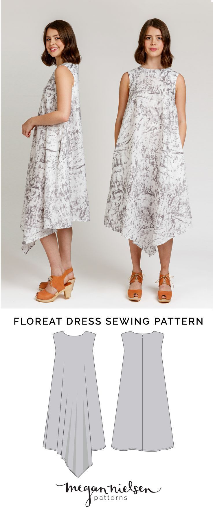 Floreat is an asymmetrical dress or blouse that can be made from woven or