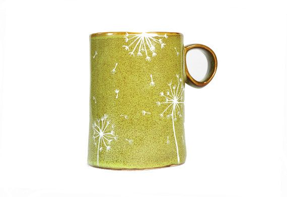Hand Painted Ceramic Mug Olive green Christmas tea cup Dandelion Rustic Coffee Mug Minimal Winter Kitchen Decor. $30.00, via Etsy.