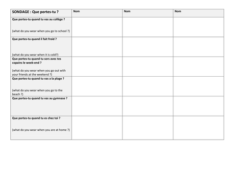 Ks3 French Free Pool Of Resources On Clothes 6 Worksheets Les