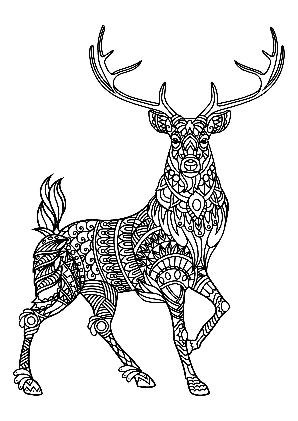 Reindeer Coloring Pages Deer Coloring Pages Mandala Coloring