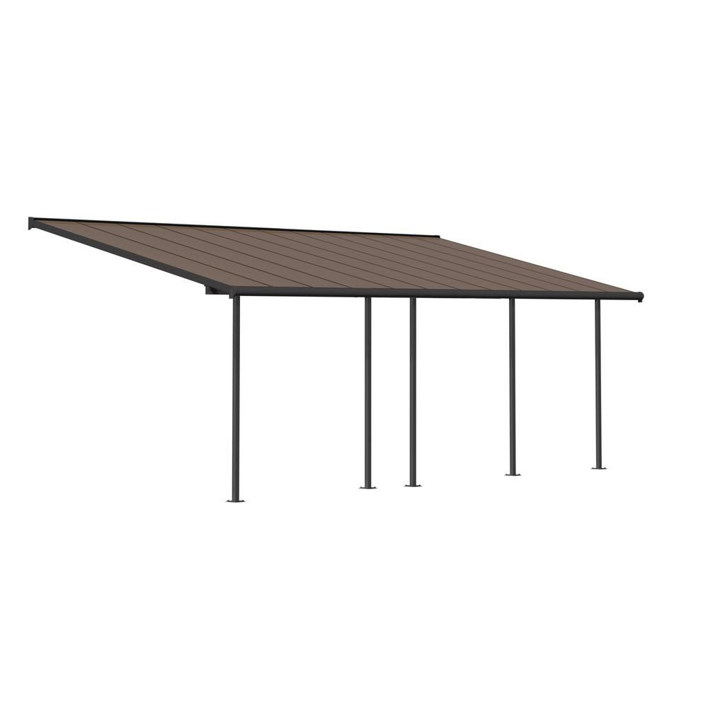 Palram Sierra 10 Ft X 24 Ft Gray Bronze Patio Cover Awning