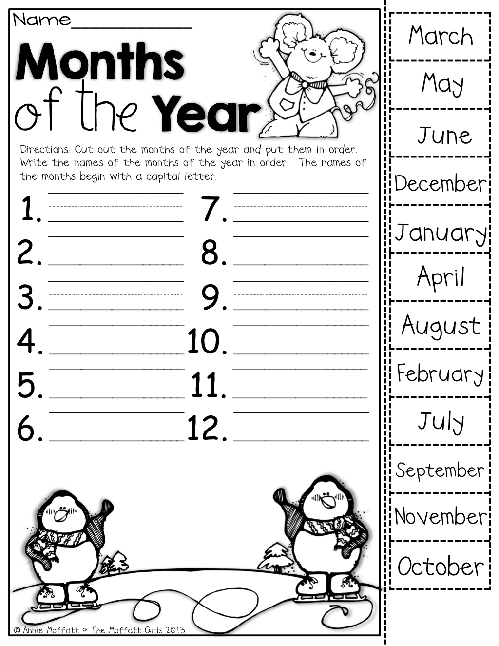 Calendar Practice Worksheets Kindergarten : Months of the year cut out put them in order