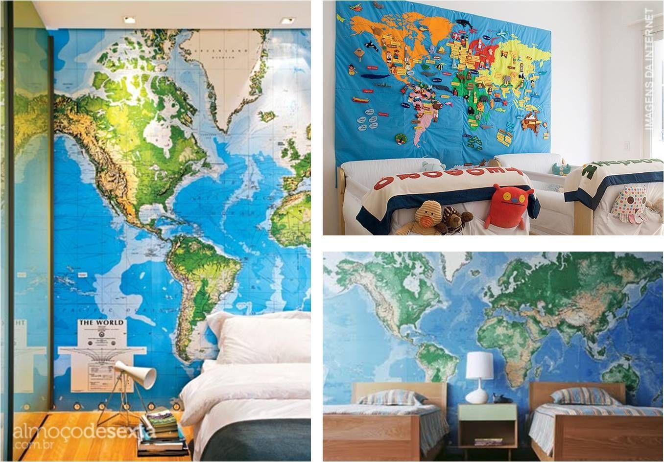 Adesivo De Parede Mapa Mundi Para Quarto Decor Pinterest  ~ Papel De Parede Mapa Mundi Quarto