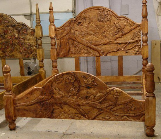 Hand carved custom headboards and footboards love this