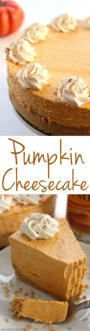 No Bake Pumpkin Cheesecake Thanksgiving Dessert Recipe   Cincy Shopper - The BEST Classic, Improved and Traditional Thanksgiving Dinner Menu Favorites Recipes - Main Dishes, Side Dishes, Appetizers, Salads, Yummy Desserts and more!