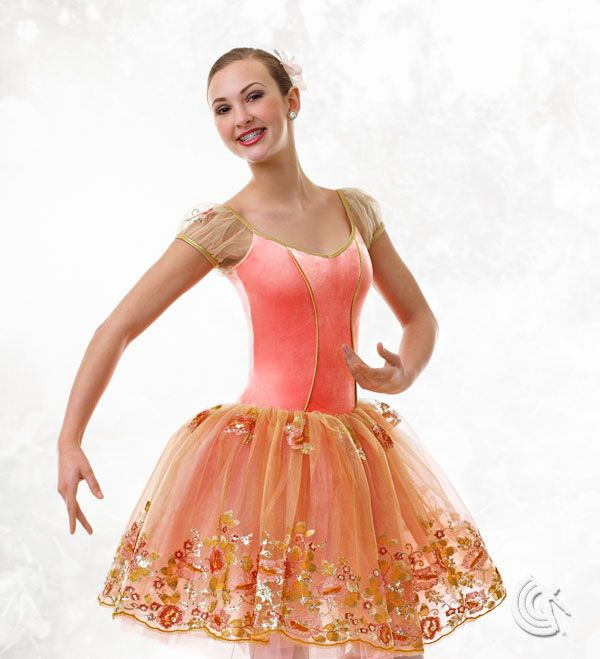 Curtain Call Costumes® - Peach Blossom Ballet dance costume with elegantly embroidered skirt.