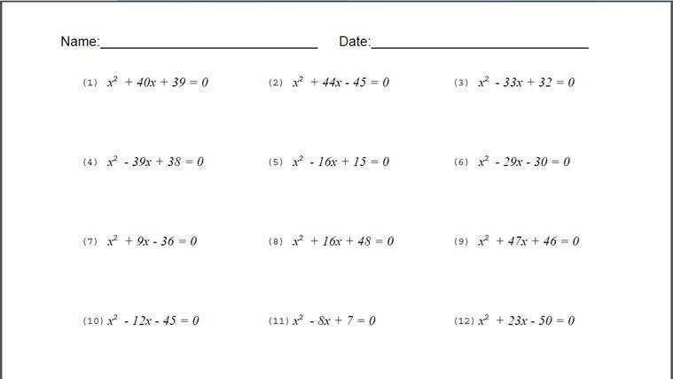 Algebra Quadratic Equations On Free Algebra Worksheets Math Worksheets Algebra Worksheets 8th Grade Math Worksheets 8th grade algebra worksheets