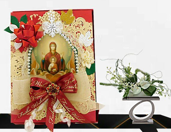 Photo of Luxury card box for Christian Holidays, Baptism, Confirmation. Red gift box with the Virgin, ribbons and pearls. Personalized, packaging box