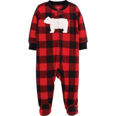 35a6f2a46 Carter s Newborn Zip-Front Buffalo Check Fleece Sleep   Play Footie ...