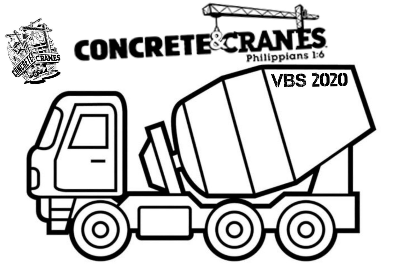 A Custom Concrete And Cranes Vbs Coloring Page Great To