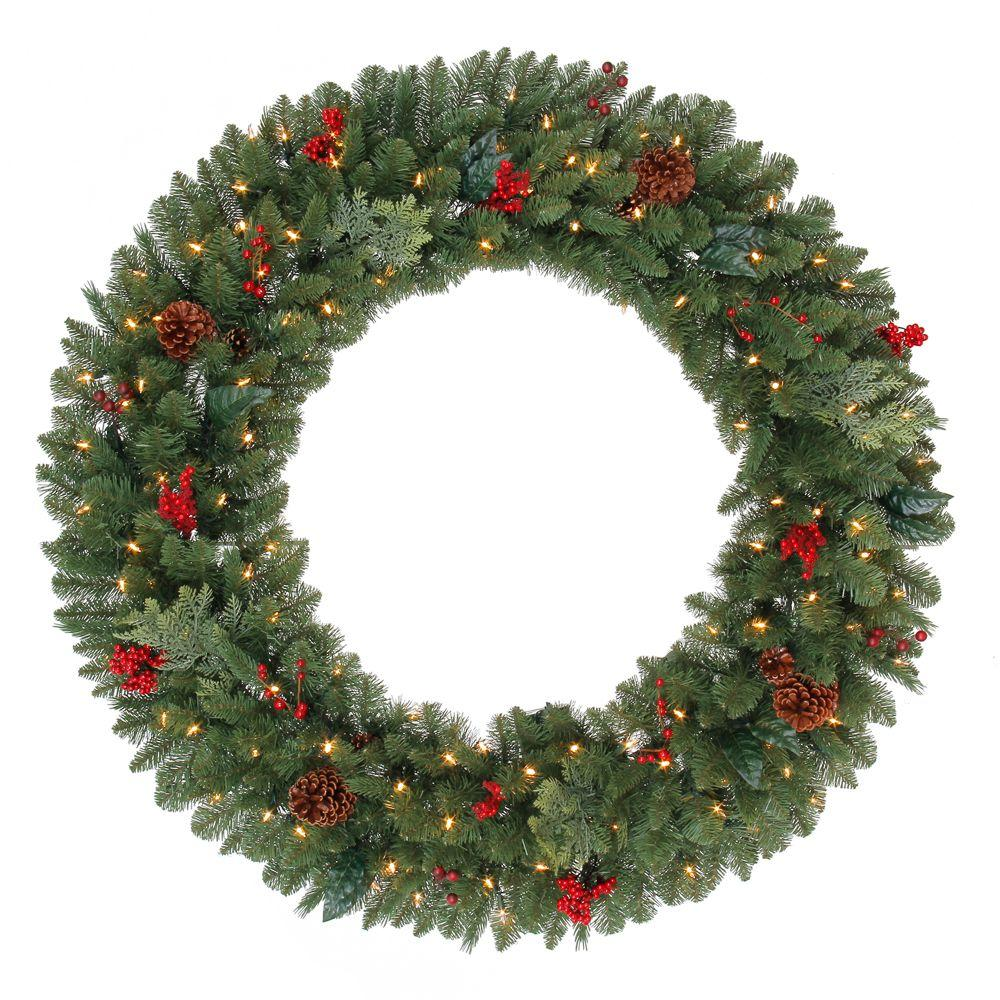 Martha Stewart Living 48 In Battery Operated Winslow Artificial Wreath With 120 C Artificial Christmas Wreaths Christmas Wreaths With Lights Christmas Wreaths