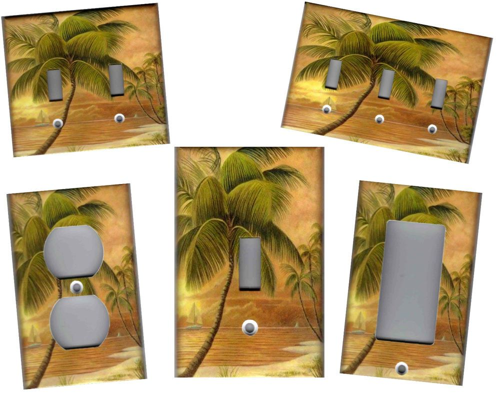 Details About Tropical Palm Tree In Paradise 2 Tropical Home Decor Light Switch Plate