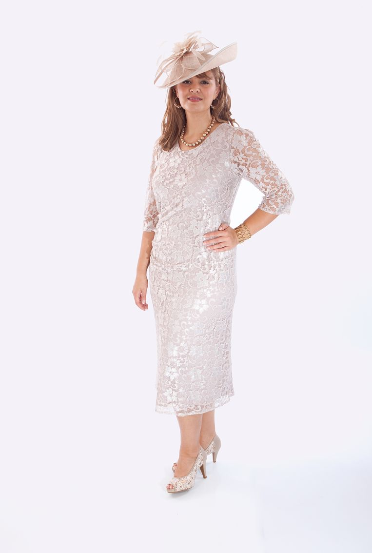 Wedding dresses for fuller figures with sleeves  A stunning Oyster English Lace Adele outfit from Penguin Designs