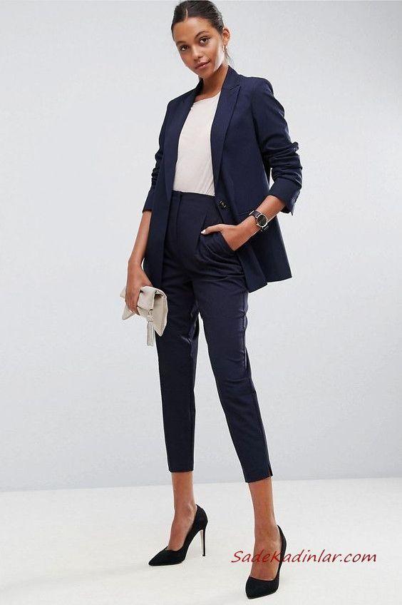 2019 Bayan Takim Elbise Kombinleri Lacivert Cepli Kalem Pantolon Beyaz Bluz Lacivert Kisa Ceket Siyah Stiletto Ayakkabi Krem El Cantasi Takim Elbise Isyeri Tarzi High Street Fashion