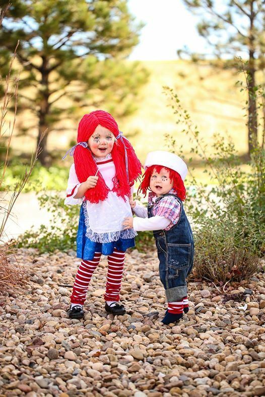Raggedy Ann and Andy Halloween costume Toddler Siblings DIY - sisters halloween costume ideas