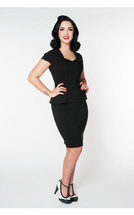 Pinup Girl Clothing- Preppy Peplum Party Dress in Black | Pinup Girl Clothing