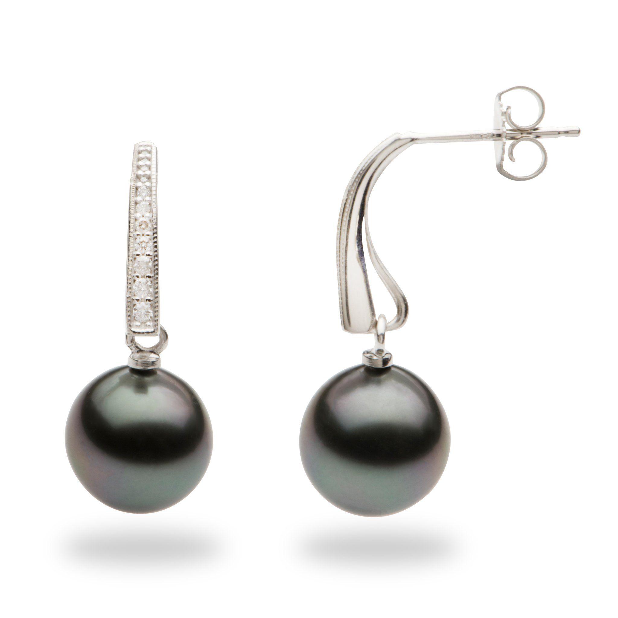 Tahitian Black Pearl Earrings With Diamonds In 14k White Gold 9 10mm Black Pearl Earrings Tahitian Black Pearls Pearl Earrings
