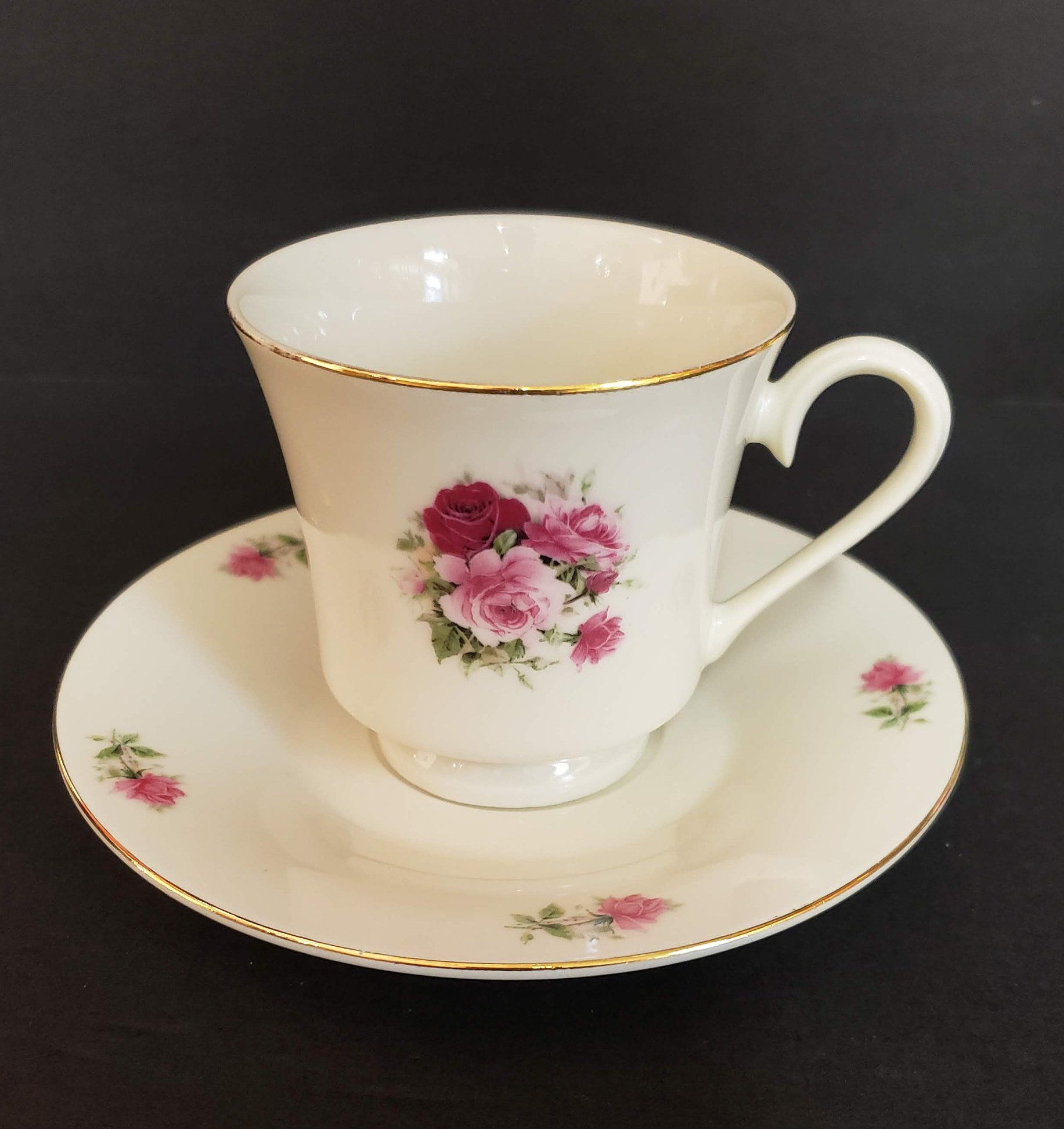 Vintage Sango Fine China Chintz Pink Rose With Gold Trim Coffee Cup Japan