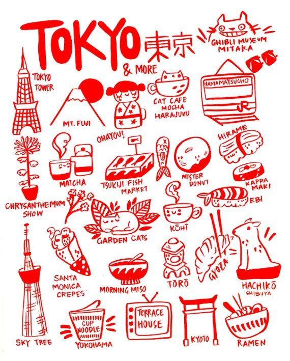 Tokyo wall art print  Tokyo City Illustration  8.5 x 11 art | Etsy