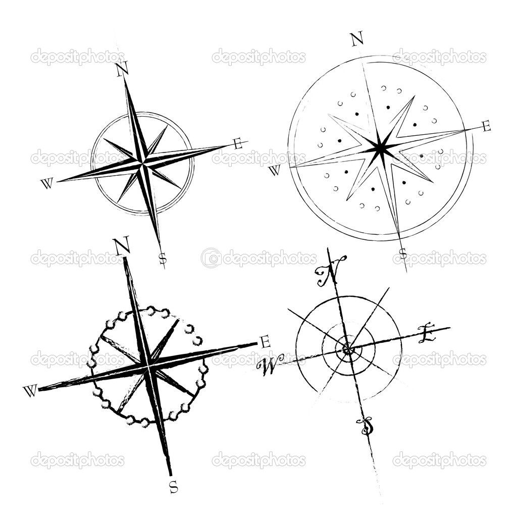 Compass Tattoo Line Drawing : Compass roses stock illustration tattoos