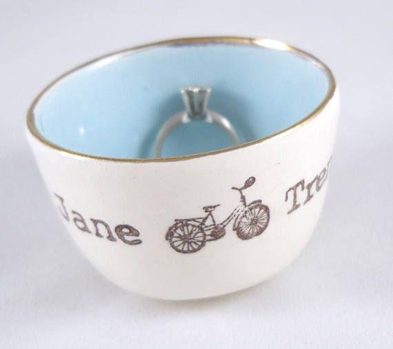 Custom Stamped Bicycle Or Tandem Wedding Ring Holder Bridal