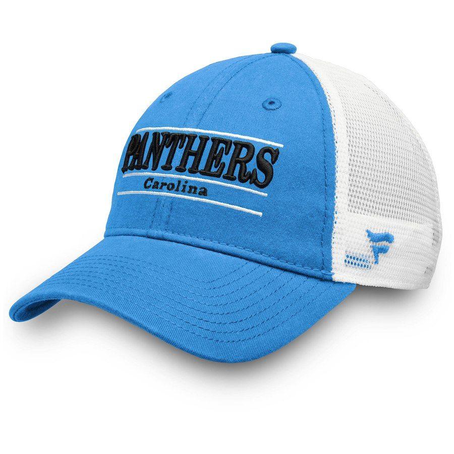c6b8fae0c Men s Carolina Panthers NFL Pro Line by Fanatics Branded Blue White Primary  Bar Trucker Adjustable Hat