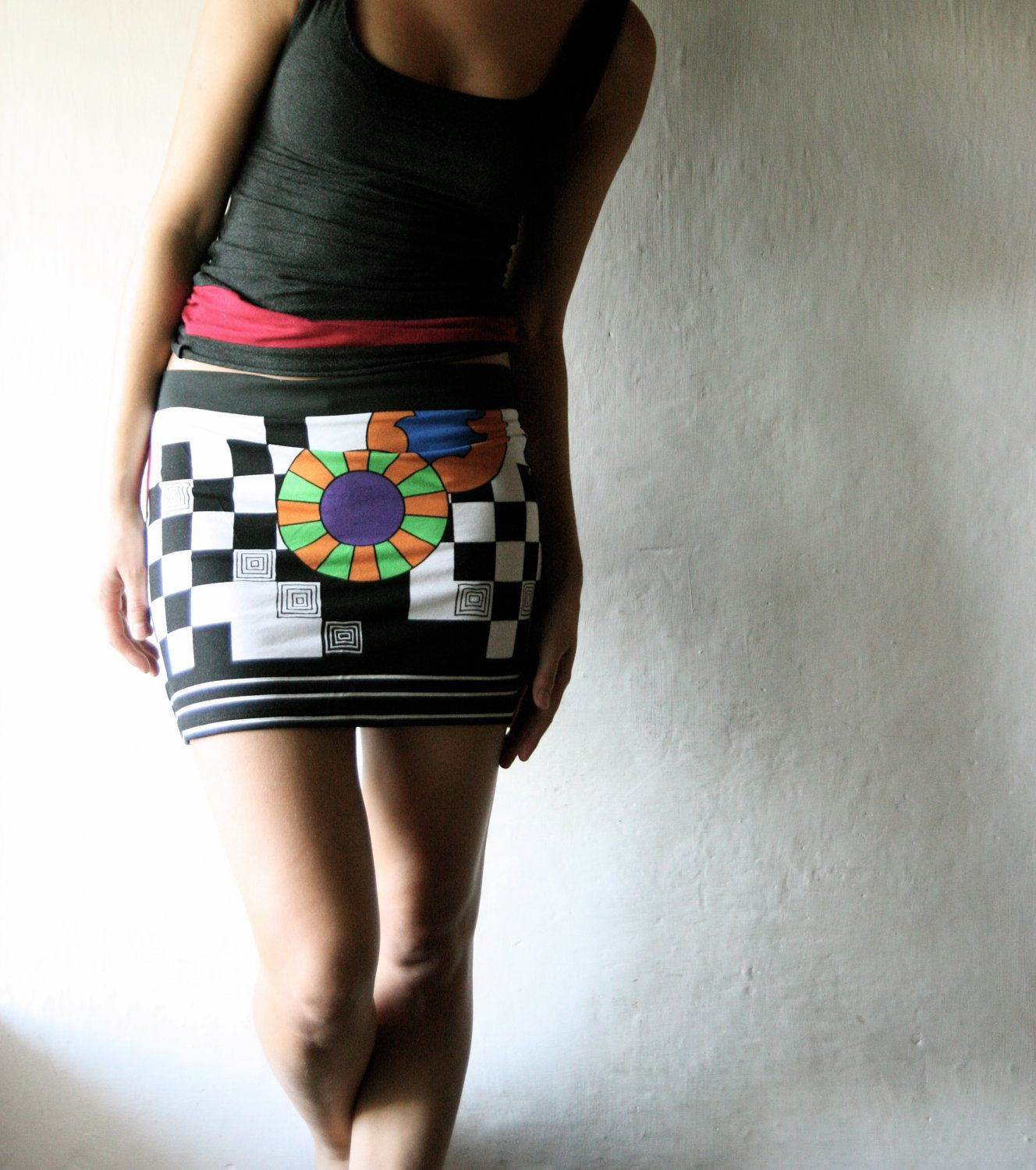 WANT. Mini skirt - Short skirt - aline fitted pencil skirt for women crazy print. €36.00, via Etsy.