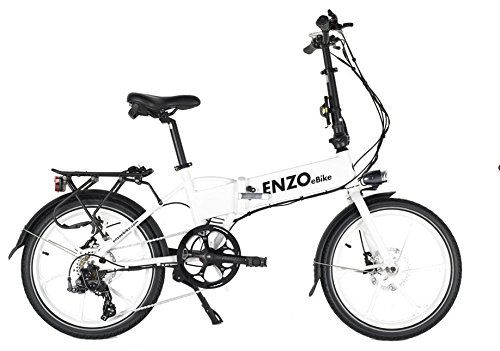 Enzo Ebike Folding Electric Bicycle 7 Speed Lithium Ion Variable Assist Glow In The Dark White Folding Electric Bike Fast Electric Bike Cheap Electric Bike