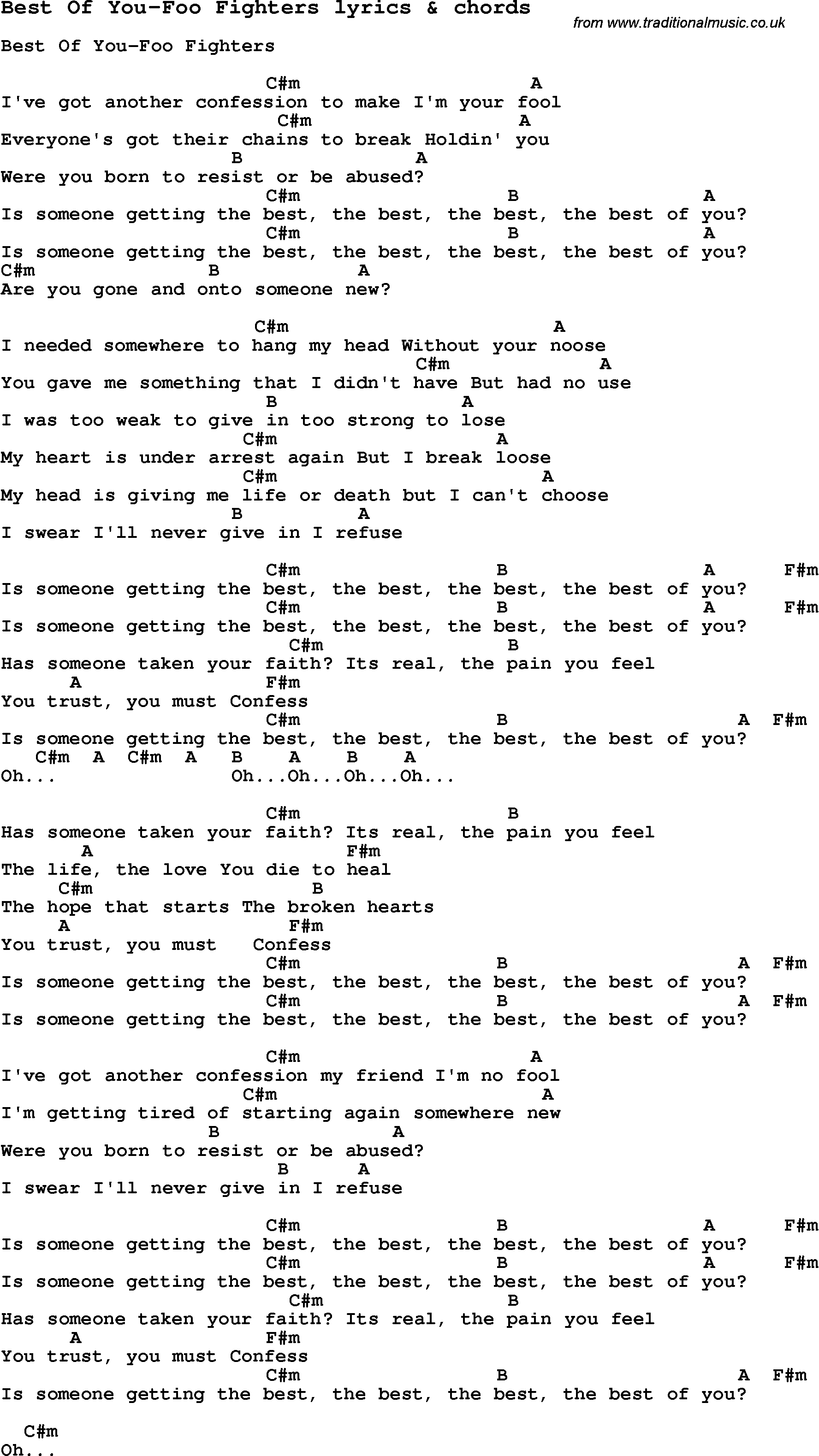 Foo Fighters Best Of You W Lyrics And Guitar Chords Music To