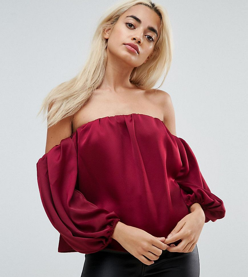 3d5944cbc59 ASOS PETITE Satin Off Shoulder Top with Balloon Sleeve - Red ...