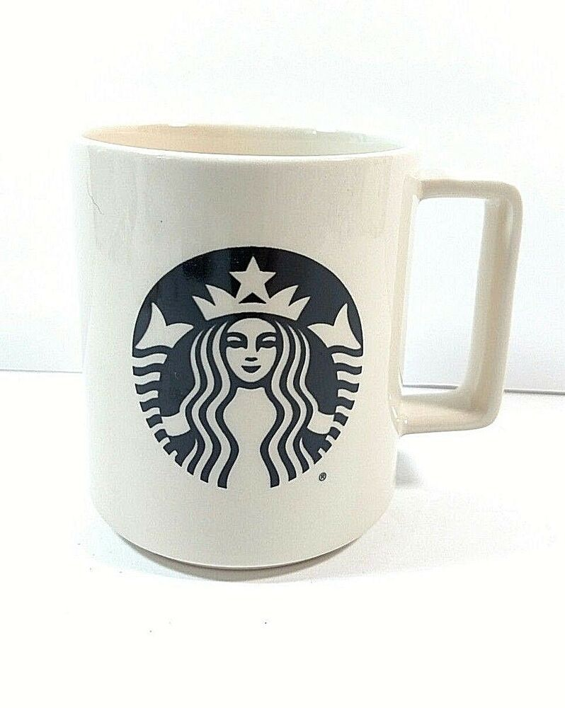 Details about Starbucks Coffee Mug 2015 Black Mermaid Logo on Beige Made in USA 14 oz ~E6 (With ...