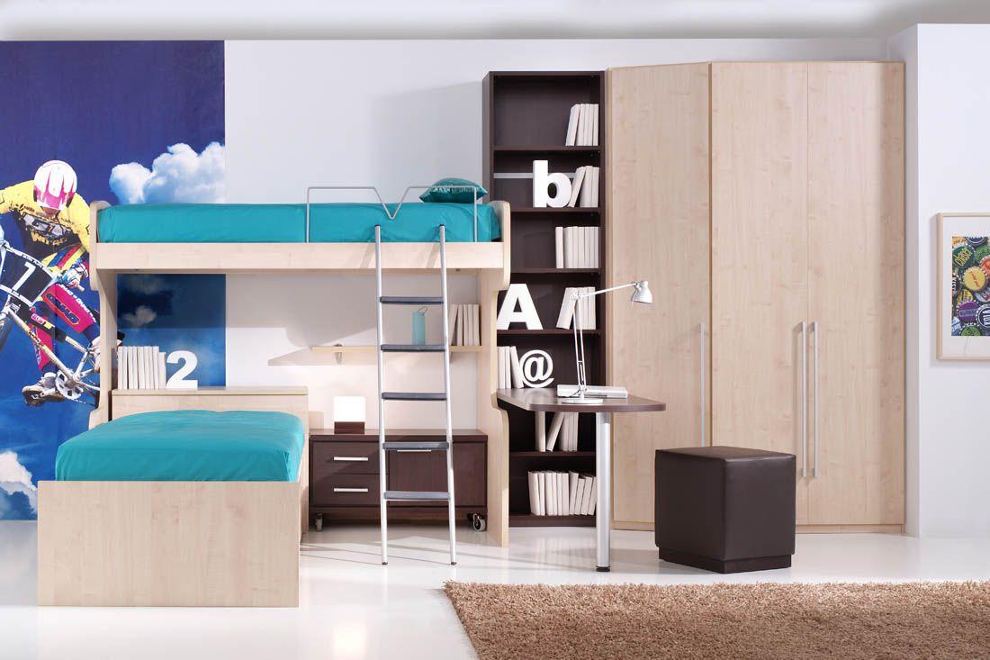 r85 dormitorio de litera en l con mesa de noche y On muebles juveniles a medida barcelona
