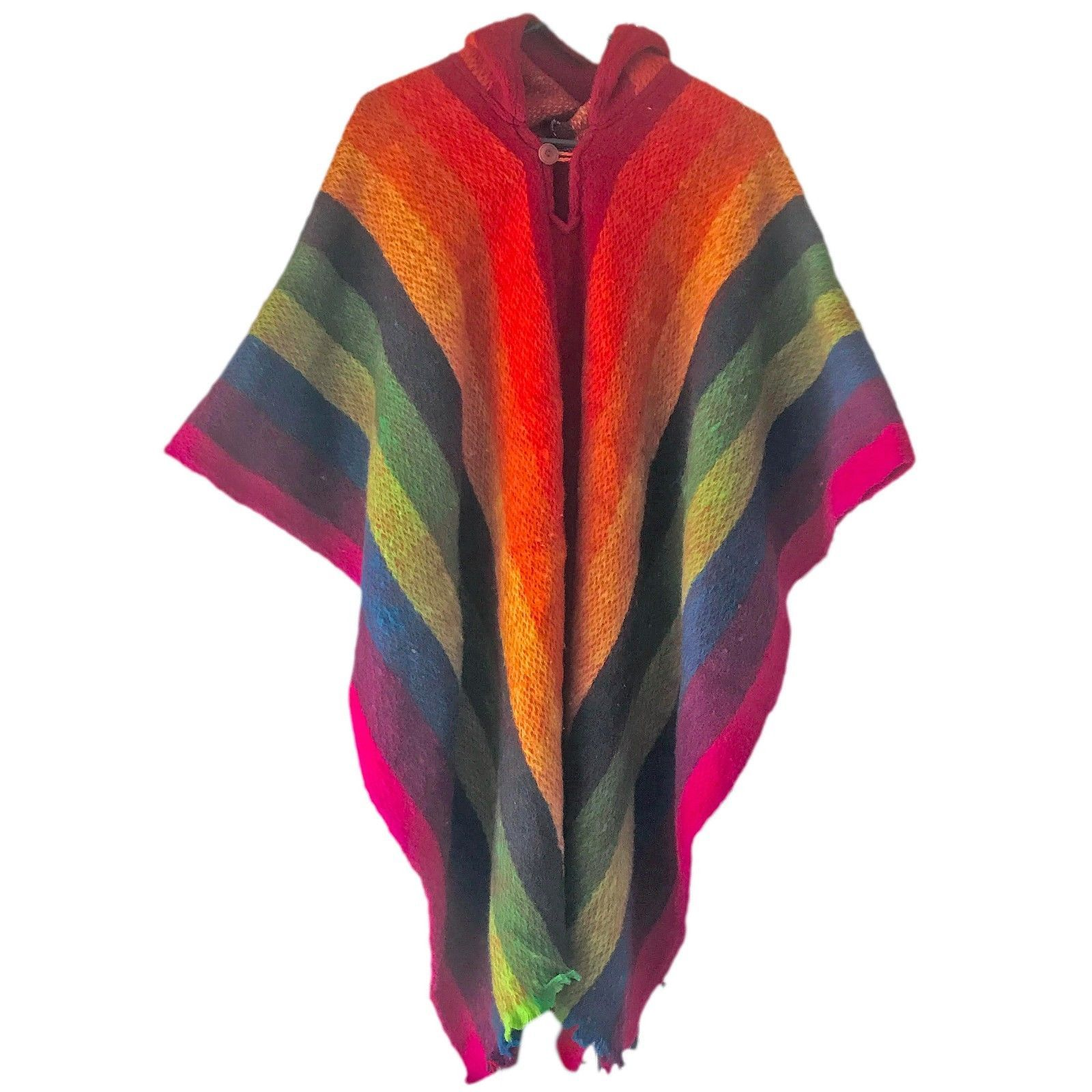 e7956e51e HANDWOVEN LLAMA WOOL RAINBOW JEDI MENS WOMANS UNISEX HOODED CAPE ...