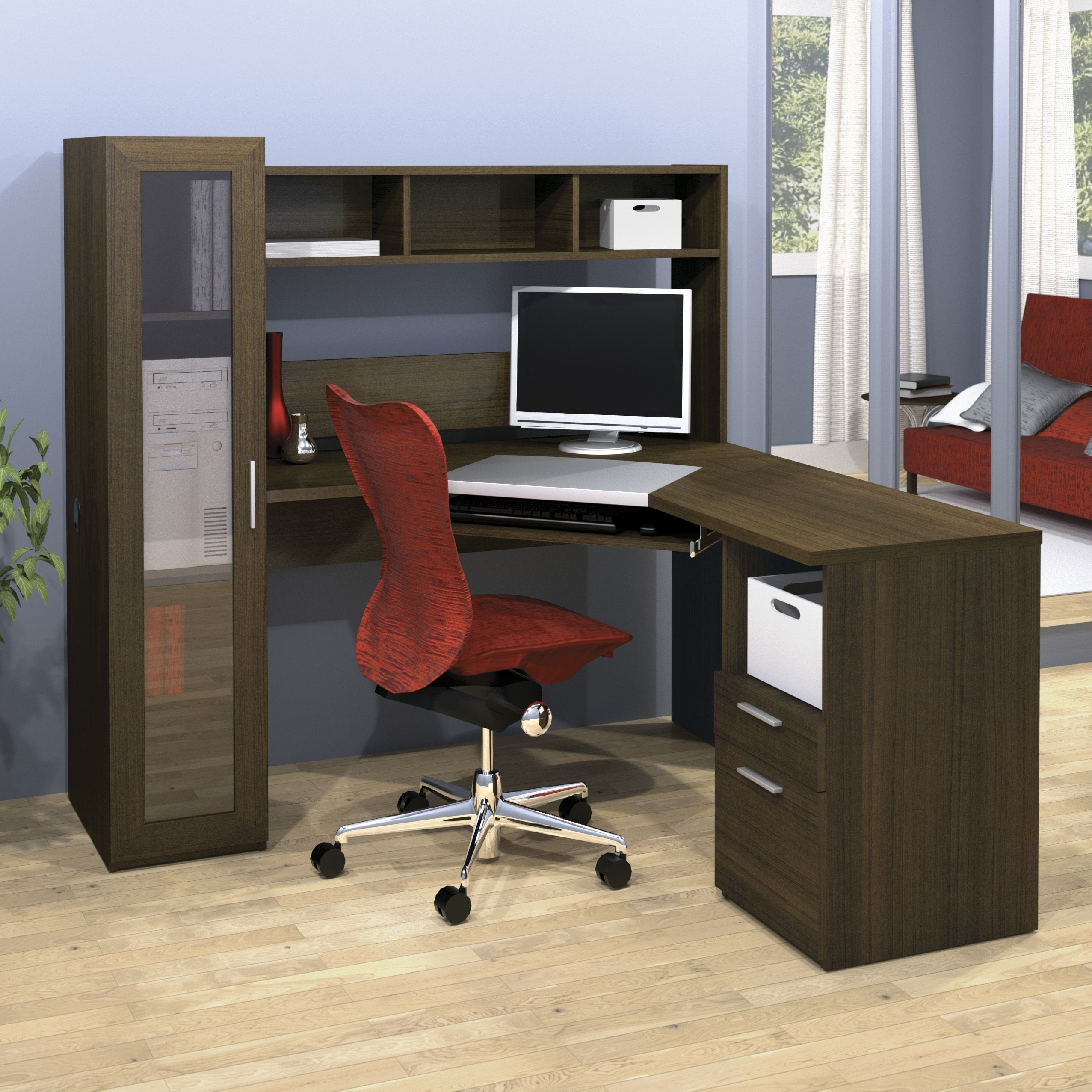 Beech effect small corner computer desk with hutch