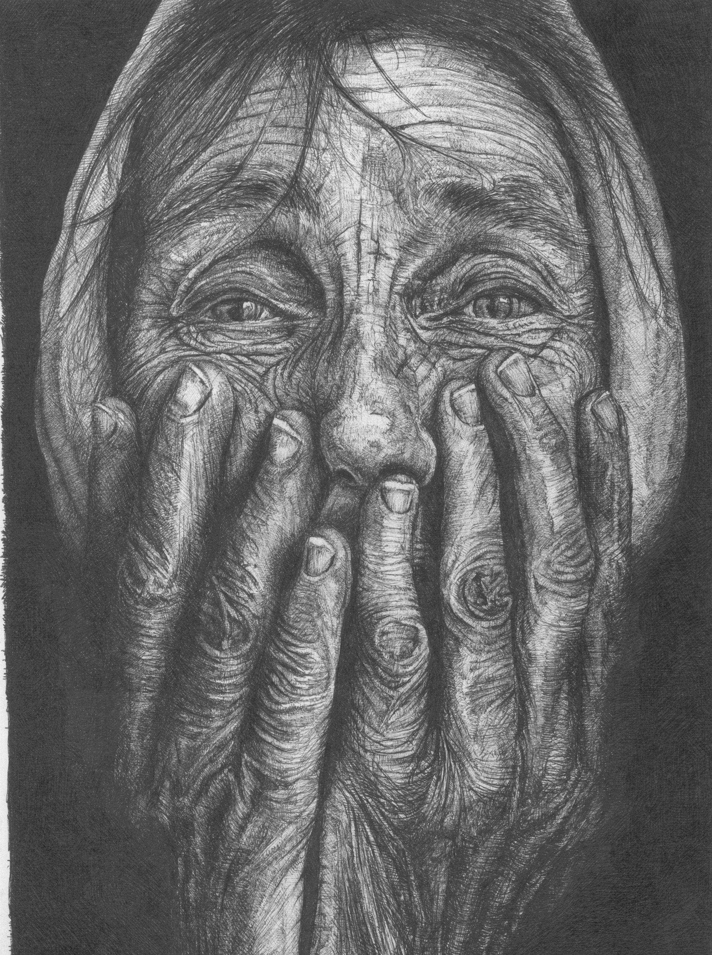 Homeless Woman Ink Drawing Drawings Ink Drawing Sketch Book