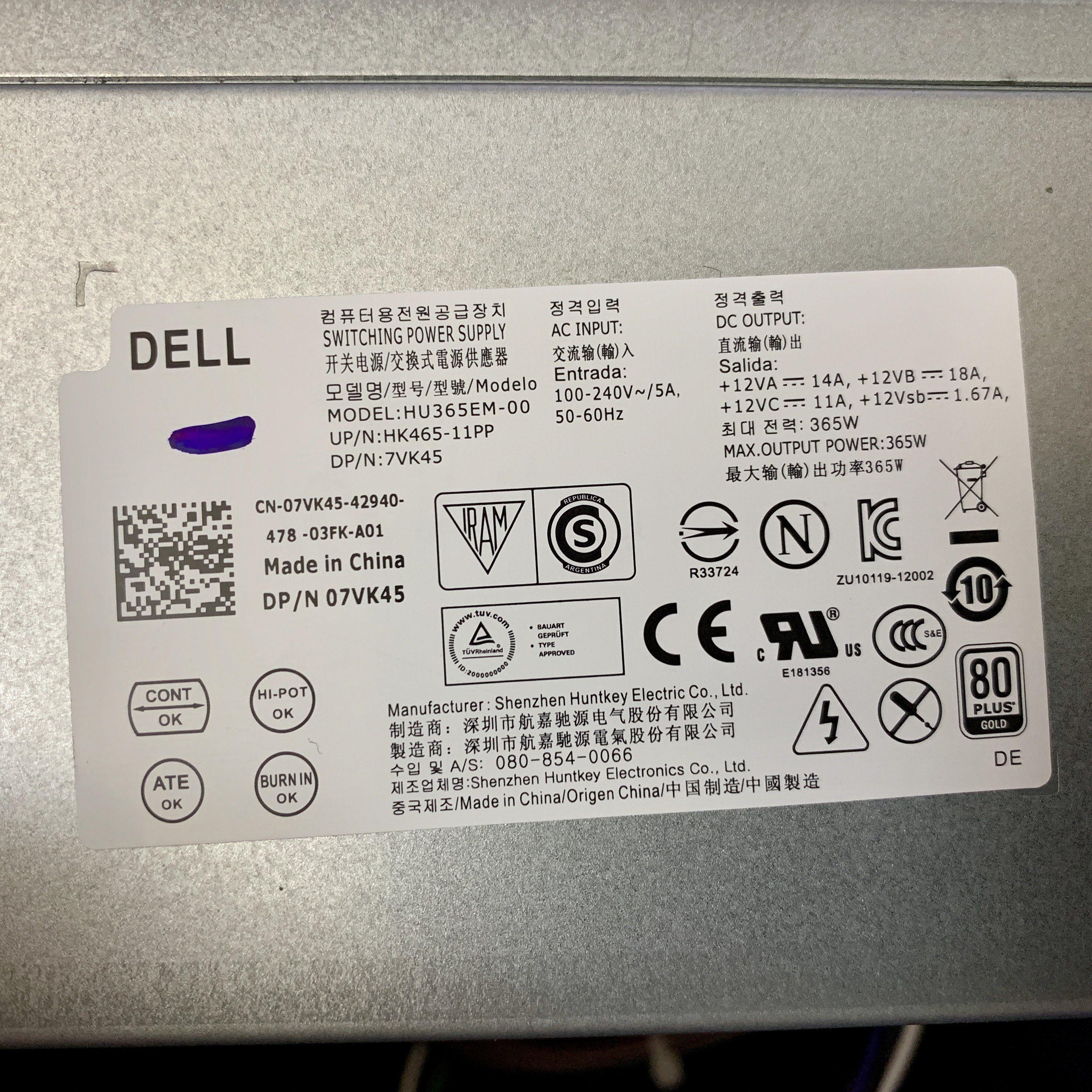 Genuine Dell Optiplex Xe2 Precision T1700 365w Switching Power Supply 7vk45 Usa Dell Optiplex Power Supply Power