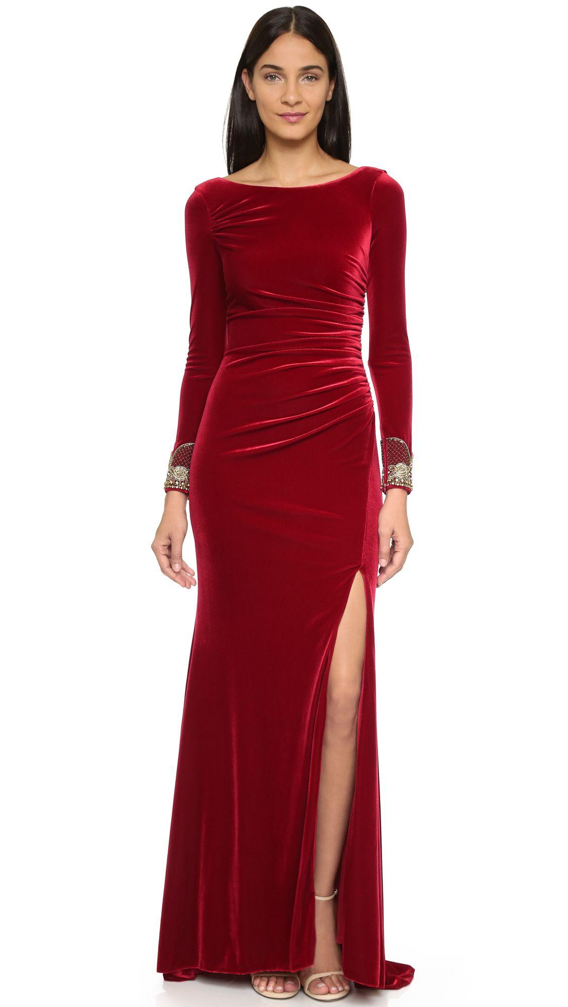 Look for less velvet dress on the hunt - Badgley Mischka Collection Crimson Velvet Long Sleeve Dress