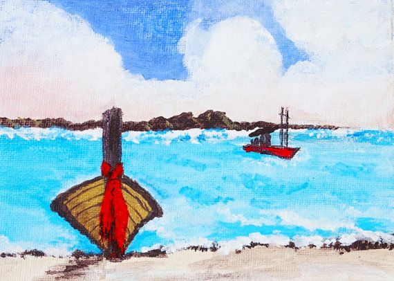 signed Seaside picture Art print boats sea sand Set of 2 Prints original