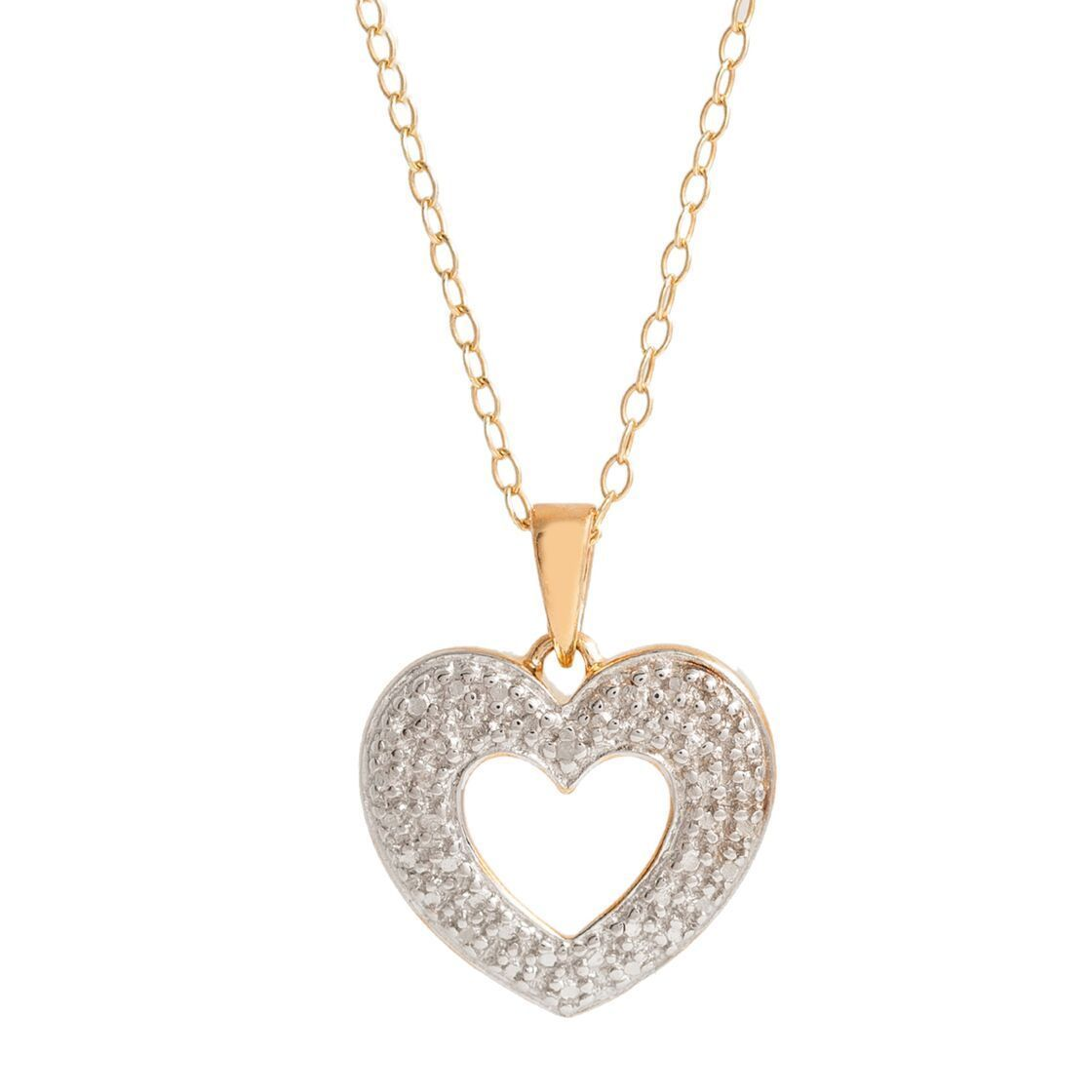Pori 18k goldplated silver diamond accent heart pendant necklace 2 explora collar de pendiente de corazn y mucho ms pori 18k goldplated silver diamond accent heart pendant necklace aloadofball