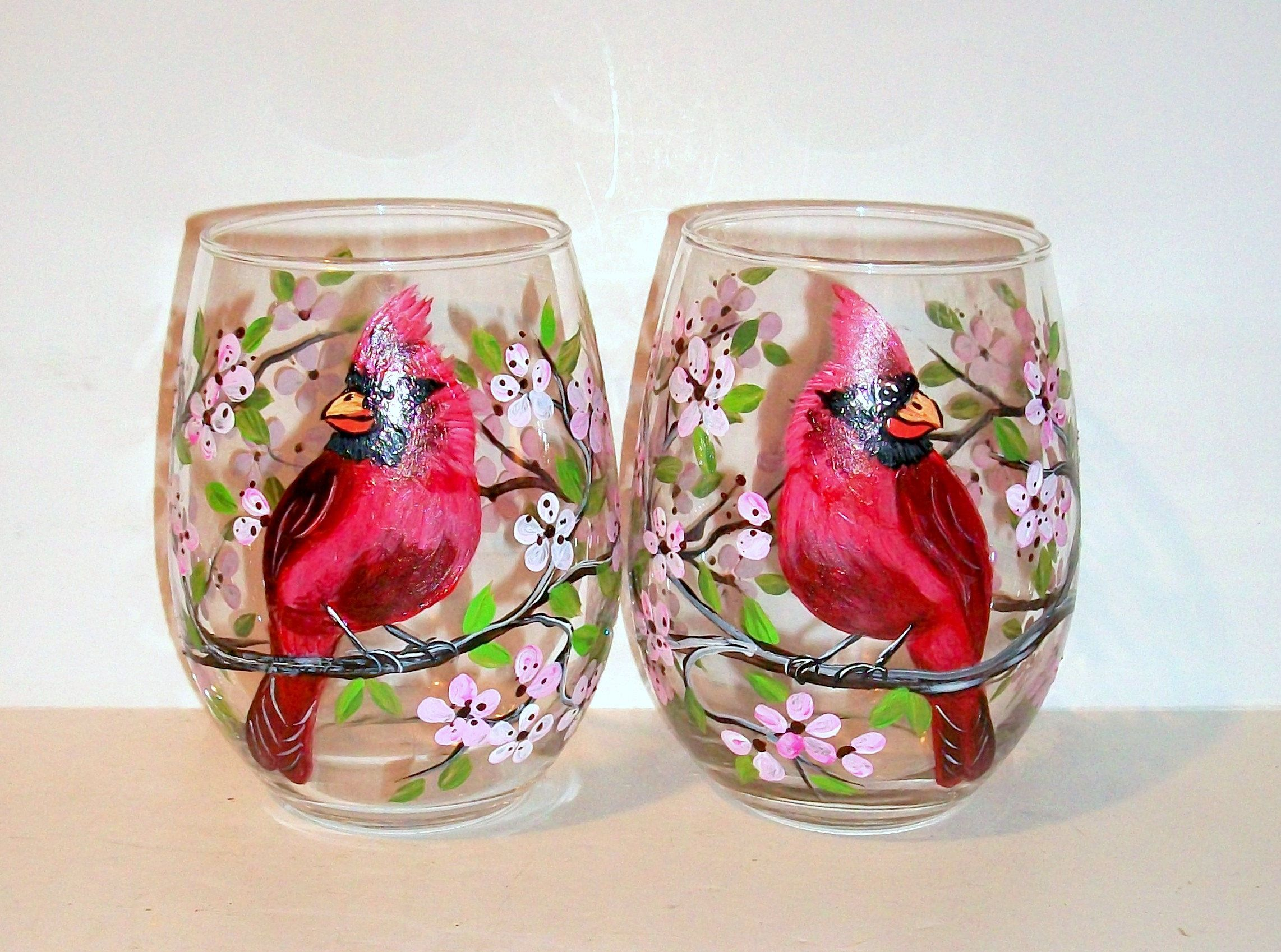 Cardinals Red Birds Orioles Blue Bird Goldfinch Robin Hand Etsy Hand Painted Wine Glass Blue Wine Glass Hand Painted Stemless Wine Glasses