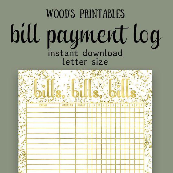 Bill Payment PDF Printable Bill Tracker Bill By