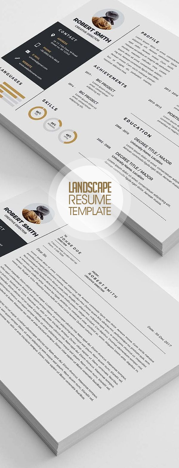 Creative Landscape Resume Template Design  Photoshopresume